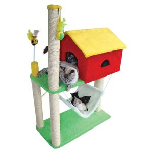 Arranhador-House-Liso-Amarelo-e-Vermelho
