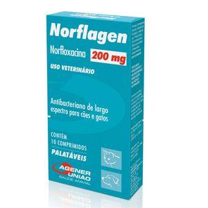 Antimicrobiano Norflagen Cães e Gatos Agener 200mg - 10 Comprimidos