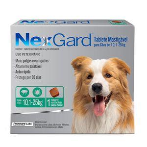 Antipulgas e Carrapatos NexGard para Cães de 10,1 a 25kg 68mg