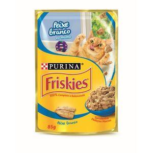 Ração Úmida Nestlé Purina Friskies Peixe Branco ao Molho Gatos Adultos 85g