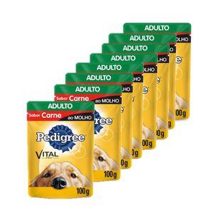 Kit-Alimento-Umido-Pedigree-Carne-ao-Molho-8-unidades