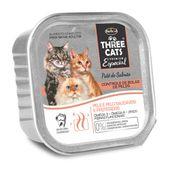 Alimento-Umido-Three-Cats-Gatos-Adultos-Bola-de-Pelo-Pate-Salmao