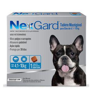 Antipulgas e Carrapatos NexGard para Cães de 4,1 a 10kg 28,3mg
