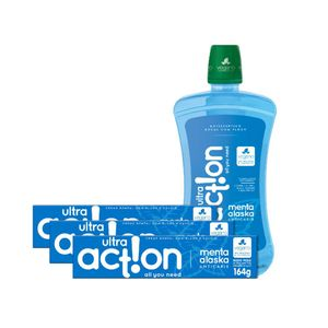 Kit 3 Cremes Dental Ultra Action Menta Alaska 164g + Antisséptico Bucal 1000ml