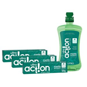 Kit 3 Cremes Dental Ultra Action Menta Amazon 164g + Antisséptico Menta Amazon 1L