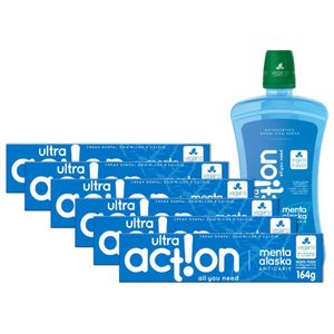 Kit 6 Cremes dental Ultra Action Menta Alaska 164g + Antisséptico Bucal 1000ml