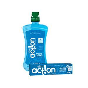 Kit Creme dental Ultra Action Menta Alaska 164g + Antisséptico Bucal 1000ml