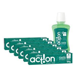 Kit Creme Dental Ultra Action Menta Amazon + Antisséptico Menta Amazon 250ml