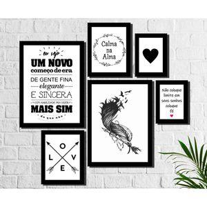 Kit 6 Quadros Decorativos Pena e Frases Preto e Branco