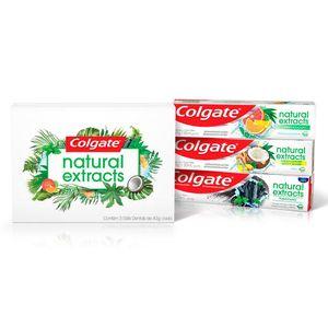 Kit Colgate Naturals Extracts Creme Dental Citrus e Eucalipto, Coco e Gengibre e Carvão Ativado e Menta Gift Pack 3 unidades 40g
