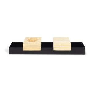 Porta Incenso e Vela com Base de Aço e Pinus Fique Zen